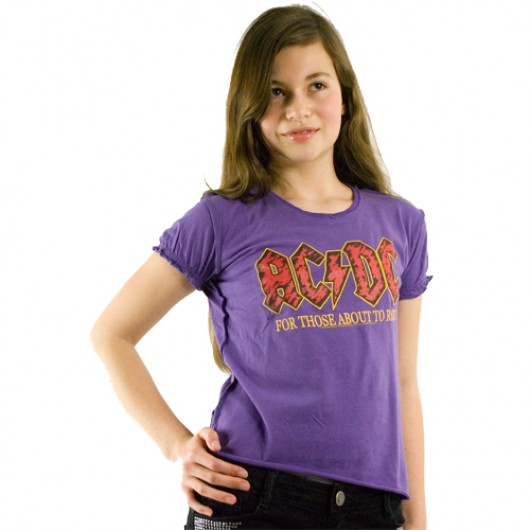 ACDC logo kinder shirt paars