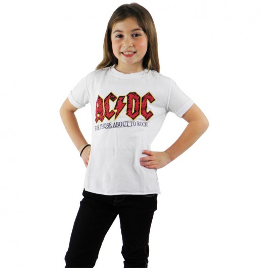 ACDC logo kinder shirt wit