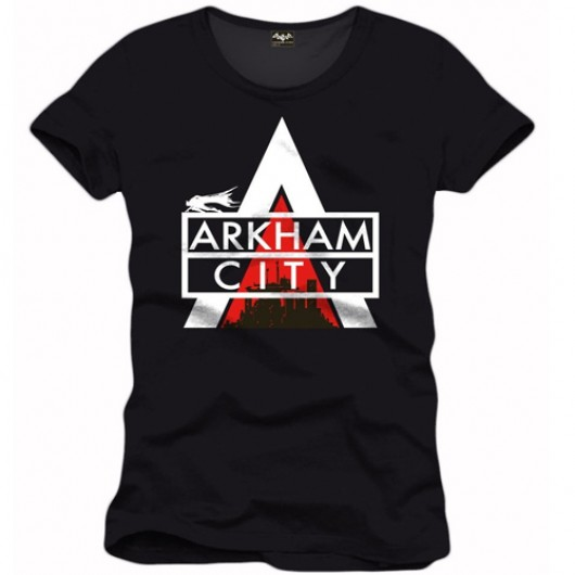 Batman Arkham city logo shirt heren zwart