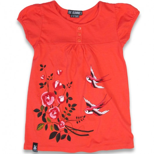 Birds and roses Six Bunnies kinder shirt