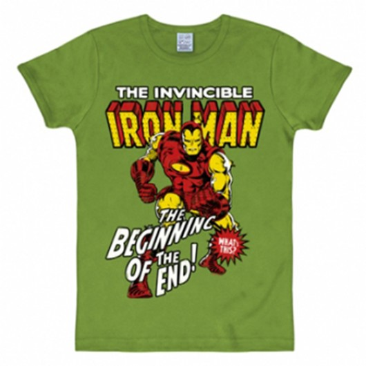 Iron Man shirt heren slim fit licht olijf