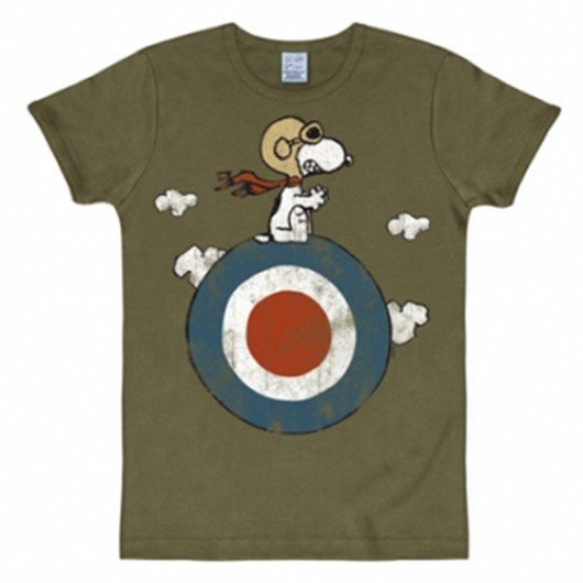 Snoopy target shirt heren slim fit olijf