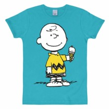 Snoopy Charlie Brown ijsje shirt heren slim fit turquoise